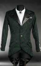 Men's Black Green Brocade Steampunk Tailcoat Victorian Vampire Goth Jacket - $88.09