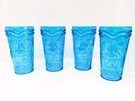 Tiki Glasses Cups Mugs Blue Glasses Set of 4 Lu... - $28.71