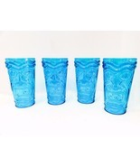 Tiki Glasses Cups Mugs Blue Glasses Set of 4 Lu... - $28.71