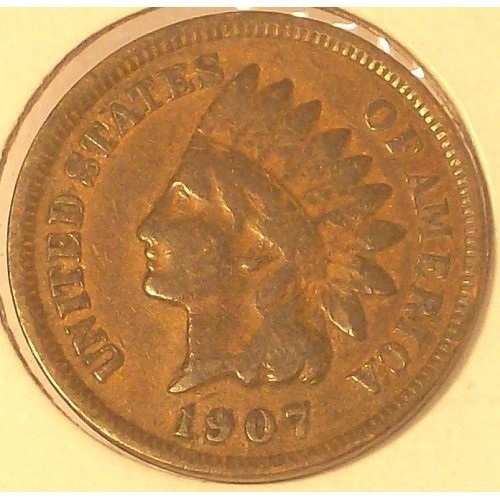 Primary image for 1907 Indian Head Cent VG Partial Liberty #0295