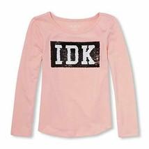 "New Children's Place Girls' Long Sleeve Sequin Knit Shirt ""IDK"" Pink Size S 5-6 - $10.79"