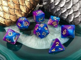 D&D Turquoise and Purple Acrylic Dice 7 Piece Set + Bag d20 d12 d10 d% d... - $5.95