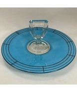 """Westmoreland Blue Handled Luncheon Tray Center Handle Server Glass 11"""" Deco - $67.13"""