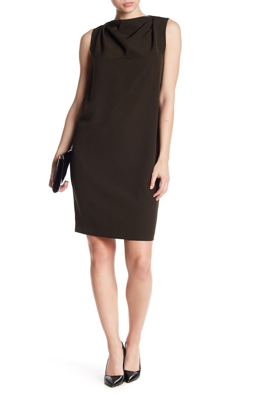 Primary image for NWT ANNE KLEIN BROWN GREEN OLIVE CAREER SHIFT DRESS SIZE L SIZE XL $99
