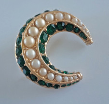Vintage Signed Ciner Crescent Moon Faux Pearl Green Rhinestone Gold Tone... - $23.75