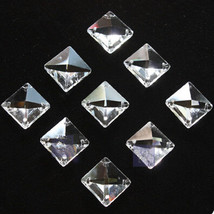 50pcs 14mm 4 Holes Glass Square Crystal Beads Prisms Chandelier Lamp Chain Parts - $7.25
