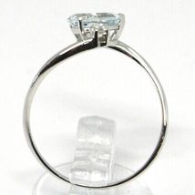 18K WHITE GOLD BAND RING AQUAMARINE 0.60 DROP CUT & DIAMONDS, MADE IN ITALY image 4