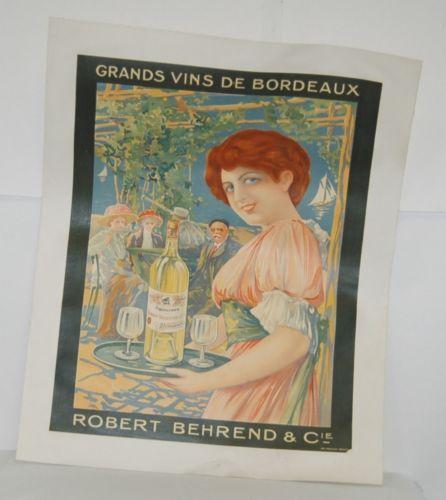 Grand Vins De Bordeaux Robert Behrend Cie Vintage French Poster