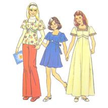 Vtg 70s Simplicity 6867 Girls Short Sleeve Dress Top Square Neck Empire ... - $6.95