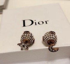 """Authentic Christian Dior Tribal Earrings """"DIOR TRIBALES"""" Crystal Moon Star Gold image 8"""