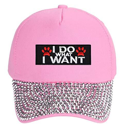 I Do What I Want Pawprints Hat - Funny Cap For A Dog Woman (Pink Studded)
