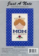 Mom Is A Queen Just A Note Greeting Card Cross Stitch Kit NEW - $2.67