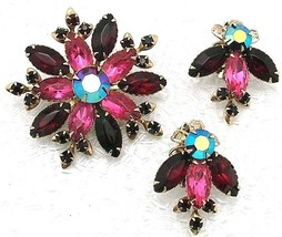 Vintage Judy Lee Unsigned Brooch and Earrings Set Red & Pink Floral Rhin... - $24.95