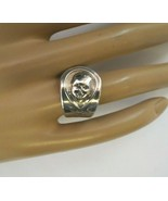 Vintage Gerber Baby Ring Oneida Spoon Size 7 Silver Plated Flowers Face ... - $22.76
