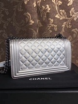 AUTH CHANEL LIMITED EDITION METALLIC SILVER PERFORATED LAMBSKIN MEDIUM BOY BAG  image 8
