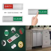 Clean Dirty Dishwasher Magnet - Non-Scratch Magnetic Silver Signage...  - $13.25
