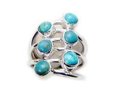 splendiferous Turquoise 925 Sterling Silver Multi Ring genuine suppiler US - $39.59