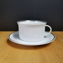 Rosenthal Continental White Platinum Trim Cup & Saucer Germany #3455 1950's - $5.89