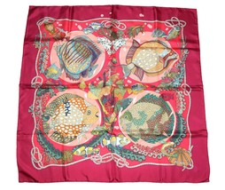 Hermes Scarf GRANDS FONDS Silk 90 cm Pink red Sea Fish Carre Shawl Stole - $355.41