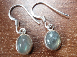 Small Labradorite Oval Ellipse 925 Sterling Silver Dangle Earrings New 760s - $11.87