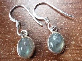 Small Labradorite Oval Ellipse 925 Sterling Silver Dangle Earrings New 760s - $11.87