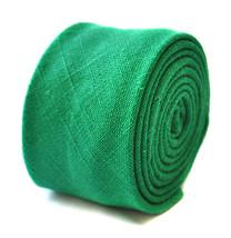 Frederick Thomas Designer Linen Mens Tie - Emerald Green - Plain Skinny ... - $16.27