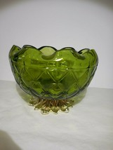 Indiana Glass Duette Quilted Diamond Green Rose Bowl on Metal bi-color Pedestal - $9.99