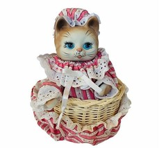 Cat Kitten Music Box lullaby moving anthropomorphic figurine musical wor... - $48.33