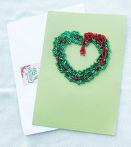 Heart Shaped Holly Wreath Christmas or Yule Handmade Card - Handmade Cards - $4.75