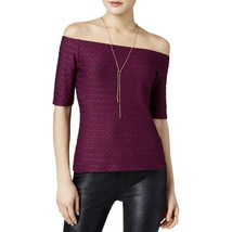 Guess Women's Off the Shoulder Textured Pointelle Pullover Top Blouse Purple L - $19.96
