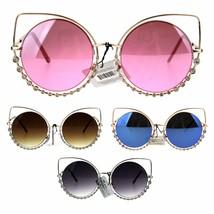 Womens Rhinestone Jewelry Gothic Round Circle Lens Cat Eye Sunglasses - $12.95