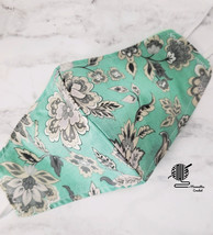 Face Mask Aqua Teal Floral Gray Cotton Cloth Facemask Cover Women Handma... - $13.50