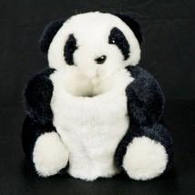 "Panda Bear Cup Holder Plush 6"" Lippe Chine Black White Stuffed Toy Offic... - $15.70"