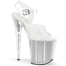 "PLEASER Sexy Silver Glitter Filled Platform 8"" High Heel Stripper Dancer Shoes 9 - $52.95"