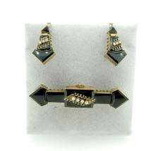 Victorian Black Onyx Pin and Earring Set (#J347) - $1,095.00