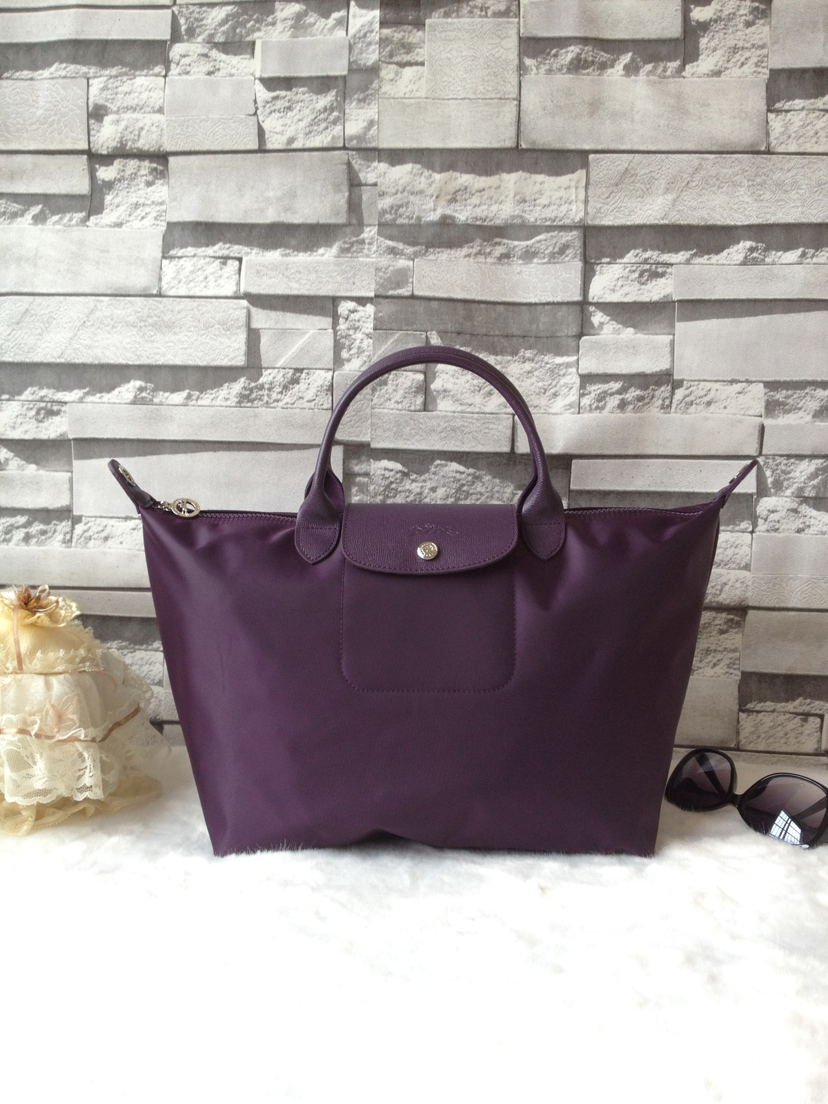 Longchamp Le Pliage Large Purple Handbag Neo Shoulder Strap 1515578645