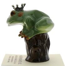 Hagen-Renaker Miniature Ceramic Frog Figurine Tree Frog Prince on Stump image 4