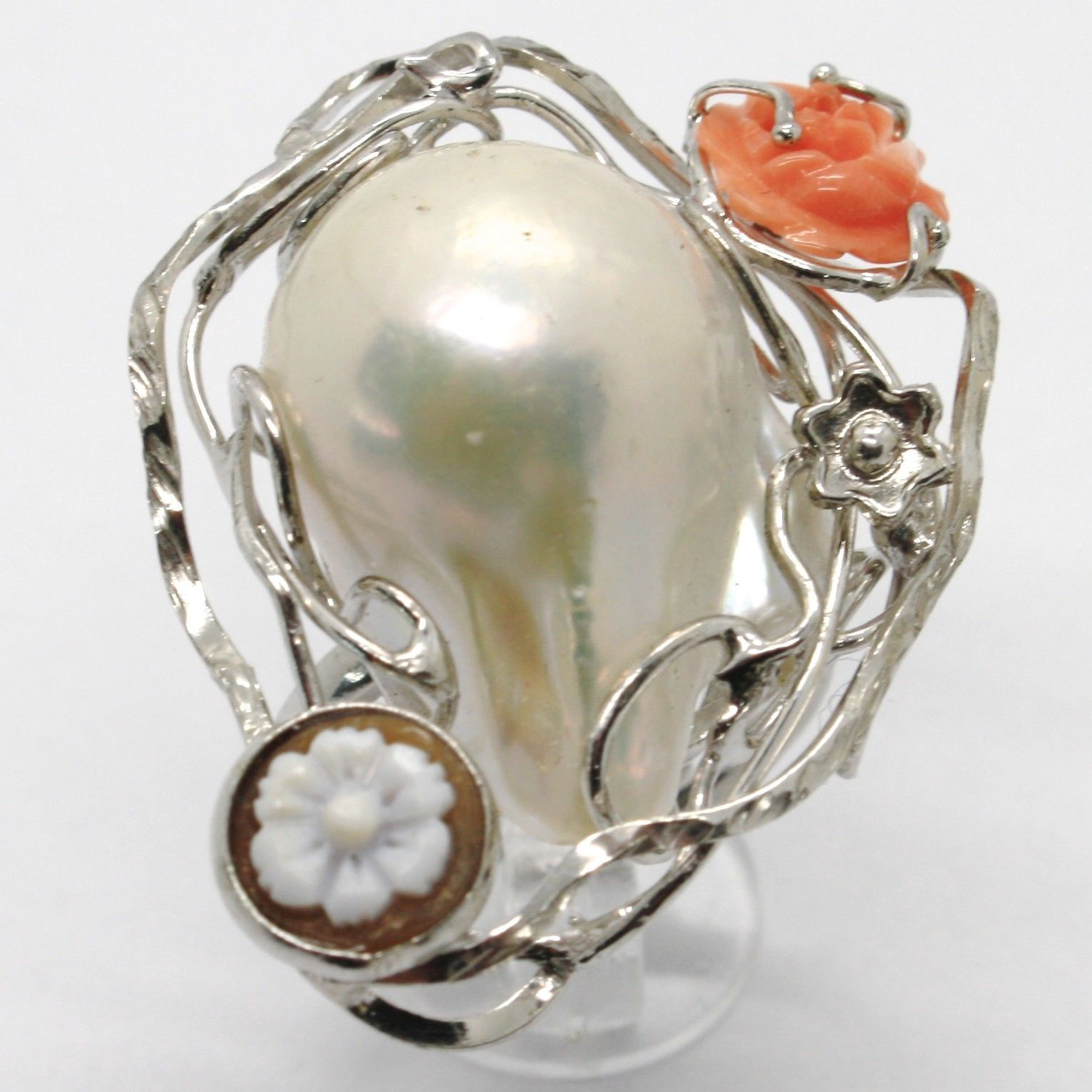 925 SILVER RING WITH CORAL PINK NATURAL PEARL AND CAMEO MADE IN ITALY