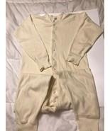 Monarch Cream Union Suit Sz S/M Long Johns Underwear Cotton USA Button B... - $22.80