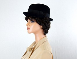 Vintage Black Felt Fedora Hat, Mens or Ladies, Mallory Fifth Avenue, Size 7 - $48.95
