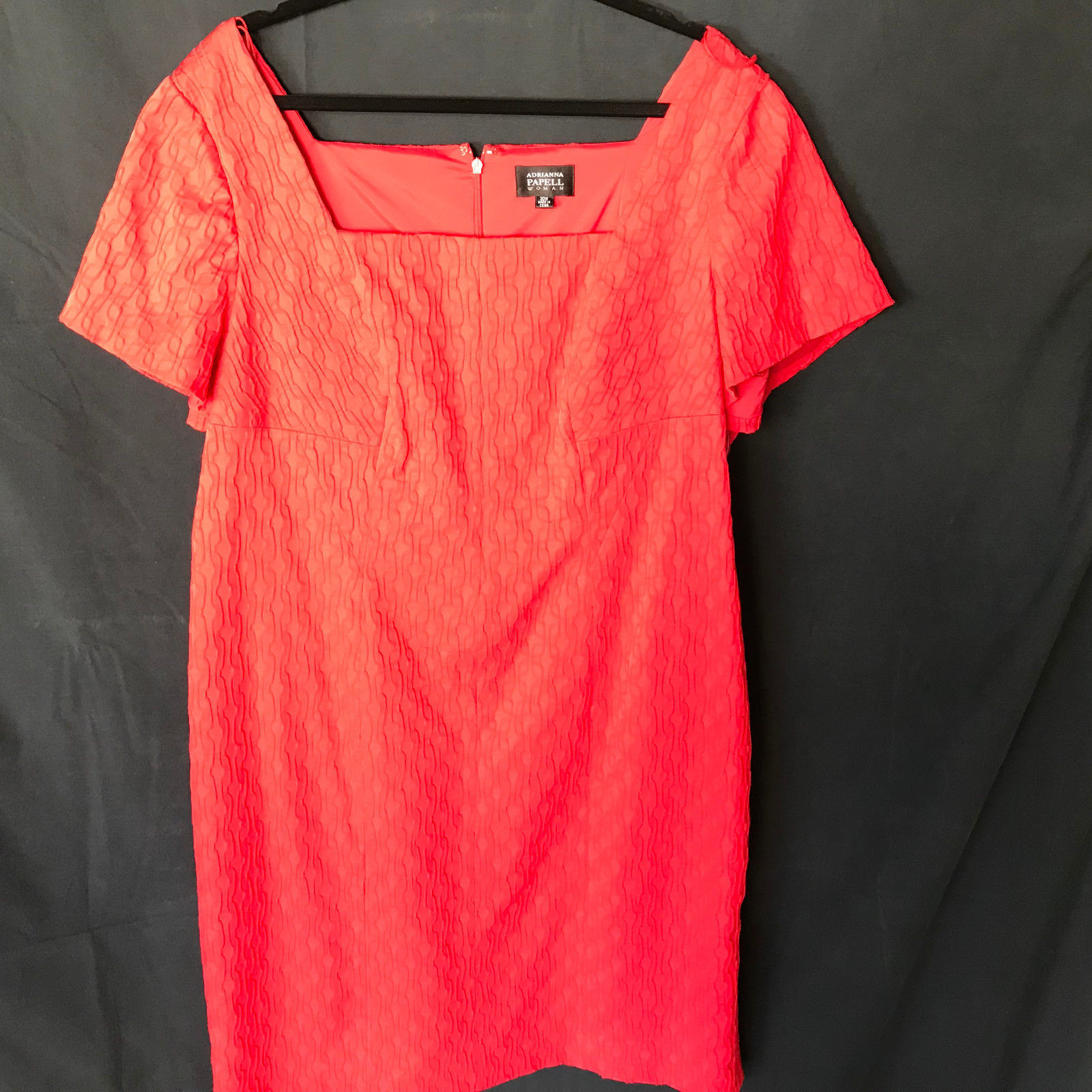 Adrianna Papell Woman Red Dress 20W Short Sleeve Squared Neck