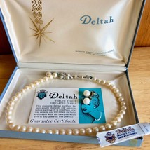"""Vintage 1950's Deltah Simulated Pearl 12"""" Necklace + Earring Set in Original Box - $57.42"""