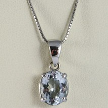 Collar Oro Blanco 750-18K Aguamarina Corte Ovalados CT 2.50 , Cadena Veneciano image 1