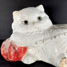 """Cat Kitten Cement Statue 11"""" Garden Yard White Vtg Mid Century 16 Lbs Concrete - $89.09"""