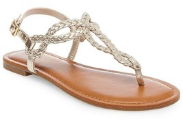 New Women's Merona Jana Quarter Strap Flat Strappy Sandals in Gold NWT