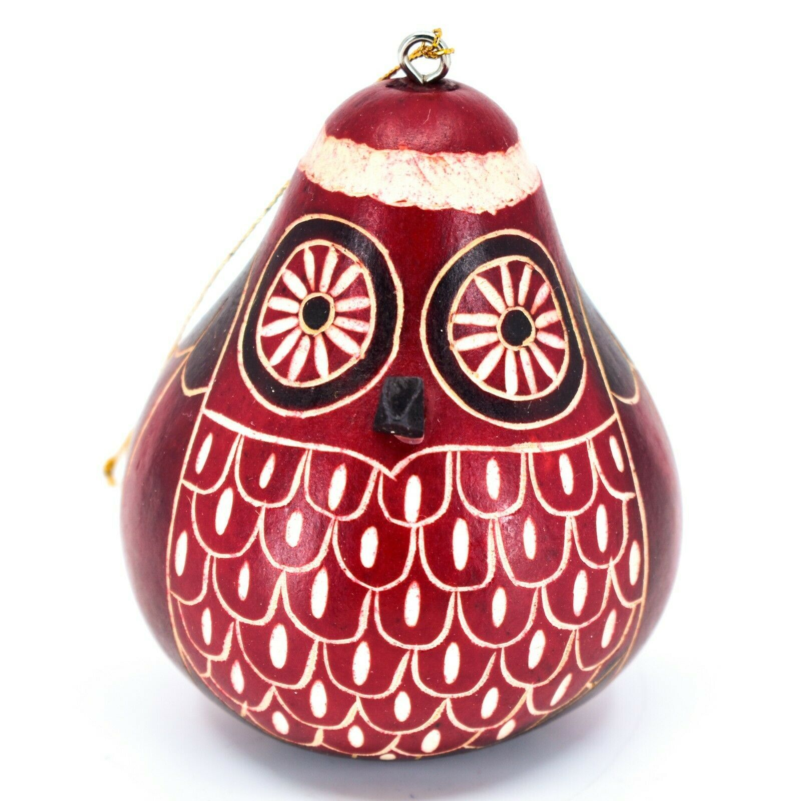 Handcrafted Carved Gourd Art Red Christmas Owl Holiday Ornament Made in Peru