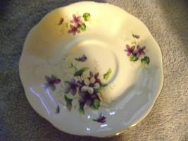 "Royal Albert Bone China, England violets scalloped saucer 5-1/2"" PRISTINE - $8.60"