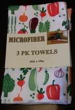 ORANGE VEGETABLES KITCHEN TOWELS 3pc Set Microfiber Spring Veggies Peppe... - $9.99