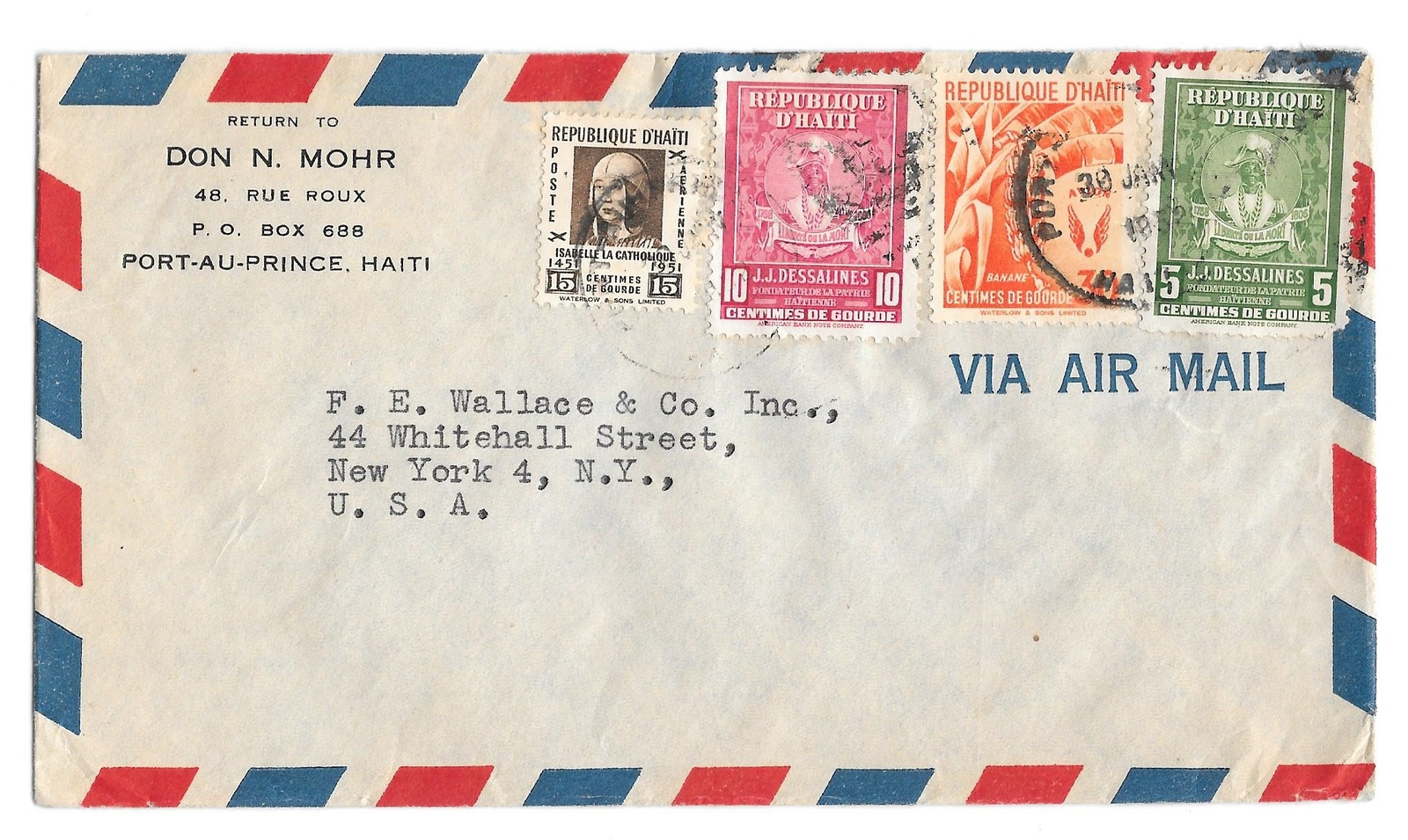 Primary image for 1952 Haiti Airmail Cover Port au Prince to US Sc C52 C55 380 381