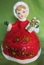 Vintage Lefton Christmas  lady Candy Dish with  Poinsettia Dress - $57.00